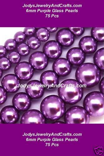 Primary image for 75 Pcs 6mm Quality Glass Pearls - Purple