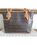 Giani Bernini Satchel Black & Brown Logo Faux Leather Handbag Shoulder B... - $39.99