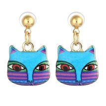 Colorful Folk Art Cat Stud Earrings - $6.99