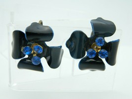 Blue Enamel Rhinestone Flower Clip On Vintage Earrings Gold Tone - $19.79