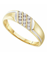 10kt Yellow Gold Mens Round Diamond Wedding Band Ring 1/8 Cttw Size 8 - £137.59 GBP