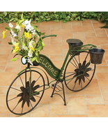 Vintage Style Green Welcome Solar Pinwheel Bike Flower Planter Folk Art - $74.99