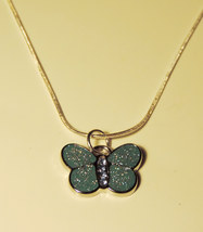 Sparkly Blue Glitter Butterfly Necklace (Pendant w/chain) - $7.00