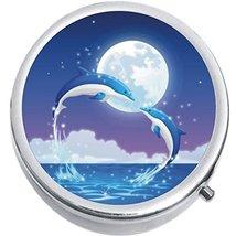 Dolphins Moon Medicine Vitamin Compact Pill Box - $9.78