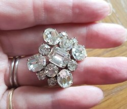Vintage Clear Rhinestone Brooch Pin Signed Made in Austria - $18.99
