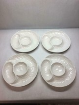 SET OF 4 Whittier CALIFORNIA Pottery WHITE Artichoke PLATES Sectioned EM... - $98.99