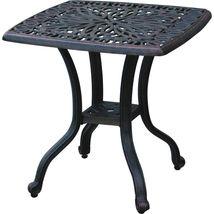 3 piece bistro patio set Palm Tree cast aluminum outdoor end table Bronze chairs image 5