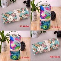 36/48/72 Holes Pencil Case Pen Holder Roll Wrap Bag Storage Pouch Canvas School - $9.49+