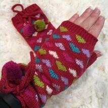 Burgundy Knit Fingerless Winter Gloves w/ Hearts Pom Poms - $23.00