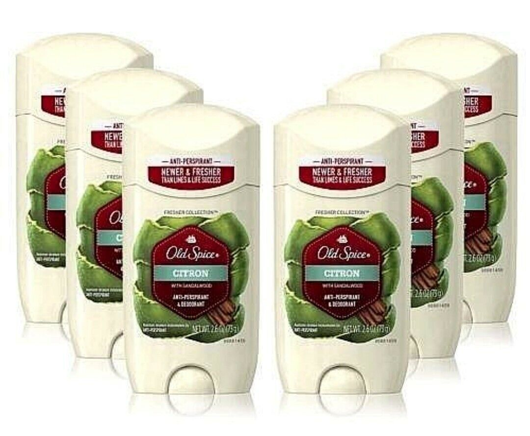Primary image for 6 Old Spice Citron Sandalwood Deodorant/Anti Perspirant Mens 2.6 oz Solid Lot