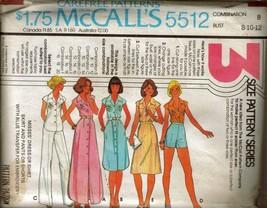 UNCUT Vtg 1977 McCall's Pattern 5512 Misses' Skirt, Top, Pants, Sz 8-10-12 - $12.99