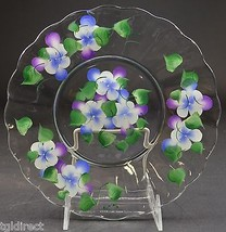 """Clear Glass Salad Plate Hand Painted Floral Pattern 8.75"""" Wide Decorative Accent - $12.99"""