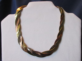 Vintage Avon Tri Color Woven Necklace / Choker - Gold, Silver & Copper T... - $11.99