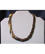 Vintage Avon Tri Color Woven Necklace / Choker - Gold, Silver & Copper Tones - £8.63 GBP