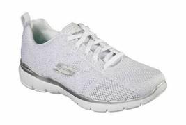 Women's Skechers Flex Appeal 3.0 Metal Works Walking Shoe White/Silver - $97.97