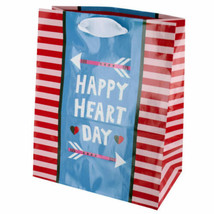 Happy Heart Day Striped Gift Bag - $6.24