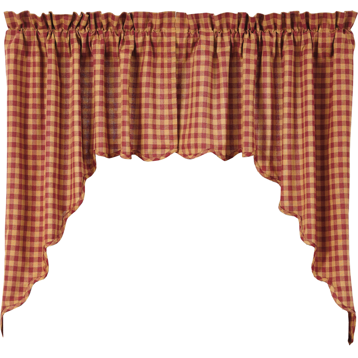 BURGUNDY CHECK Scalloped Swag - Set of 2 - 36x36x16 - Burgundy/Tan -VHC Brands