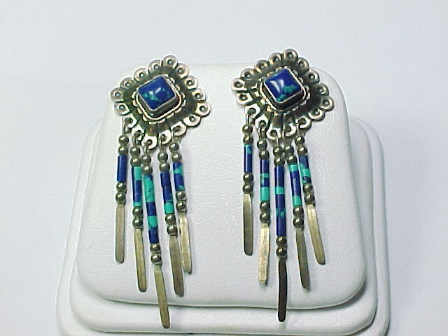 STERLING Silver 2 inches Vintage EARRINGS - Azurite and Malachite Dangles