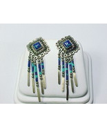 STERLING Silver 2 inches Vintage EARRINGS - Azurite and Malachite Dangles - $85.00