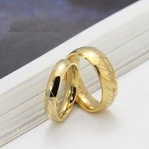 2PCS Lord of The Rings 18K Gold Titanium Steel Couple Ring Set Matching ... - $267,00 MXN