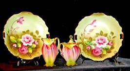 Green Red Floral cream and sugar with lid plus two plates Lefton NE 719 AA19-158 image 1
