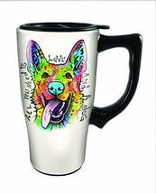 Spoontiques Dean Russo German Shepherd Travel Mug, Off-White - $20.34