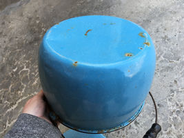 "VTG Enamelware Pail Kettle Blue Stock Pot Lid Wood Handle 10"" Estate camping image 10"