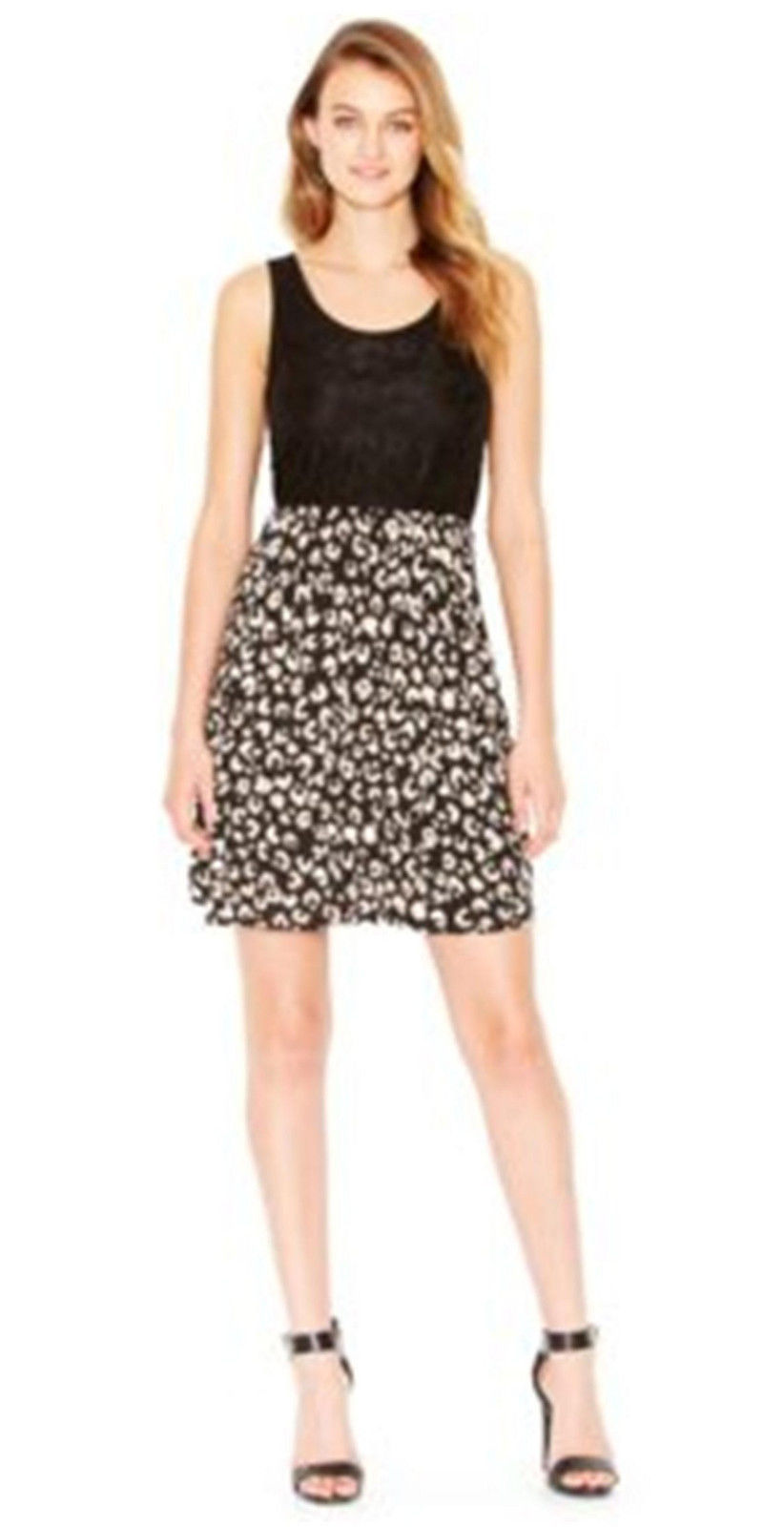 Primary image for Kensie Black Contrast Lace Top Cheetah Print Skirt Sleeveless Dress S