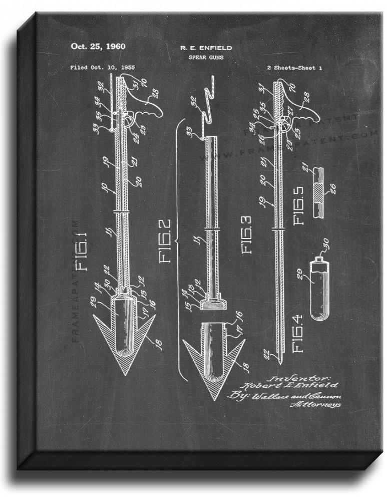 Primary image for Spear Guns Patent Print Chalkboard on Canvas