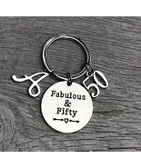 Personalized 50th Birthday Keychain with Letter Charm, 50th Birthday Gif... - $13.99