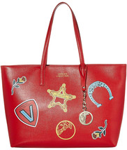 Versace Collection Leather Tote w/ Patches Red Saffiano - $799.00