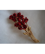 Vintage 80's DM 97 Satin Enamel Dozen Red Rose Pin Brooch - $12.99