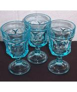 (3) Fostoria Turquoise Ice Blue Depression  Water Glasses - $60.00