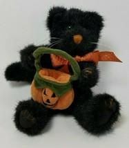 Boyds Pepper B Scaredycat Halloween Cat Plush w/Pumpkin Bag - $9.90