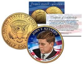 PRESIDENTIAL $1 JOHN F KENNEDY on 2015 JFK Half Dollar U.S. Coin 24K Gol... - $8.86