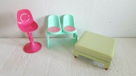 Ponytail Barbie Doll Furniture Bar Stool Pink High Chair Green Lounge Ch... - $14.99