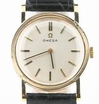 Vintage OMEGA 14k Or Jaune Remontage Mécanique Watch W / Bracelet cuir - $1,069.15