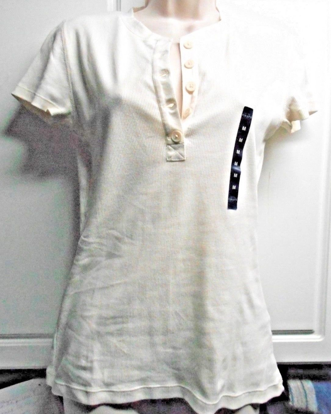 Primary image for New Chaps Women Sz M  Ribbed Top Shirt Short Sleeve  White Retail $95