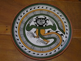 Vintage Large Green Mustard & Black Tribal Art Glazed Red Pottery Plate ... - $9.49