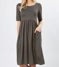 Gray Midi Dress, Midi Fit and Flare Dress, Dress with Pockets, Colbert Clothing