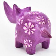 Vaneal Group Hand Carved Kisii Soapstone Fuchsia Rhinoceros Rhino Figurine image 3