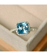 2.00 Ct Cushion Cut Aquamarine Halo Engagement Wedding Ring 14K White Go... - $70.99
