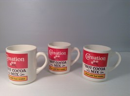 "Set of 3 Carnation HOt Cocoa Mix Cup Mug CUTE 3.75"" tall x 3"" diam - $14.54"