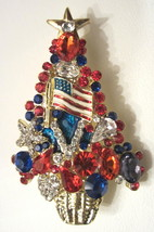 RED WHITE & BLUE PATRIOTIC CHRISTMAS TREE BROOCH  FEATURING US FLAG - $27.99