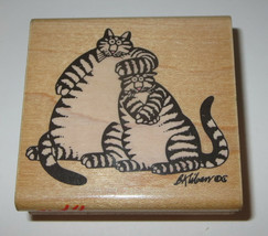 Kliban Cats Rubber Stamp What A Pair Pets Striped Kittens Kitty Retired ... - $42.56
