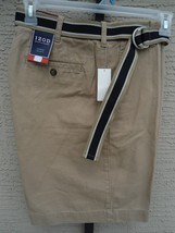 "NWT  Mens Izod Cotton Twill Flat Front  Belted 8""  Shorts 34 Waist Khaki - $21.49"