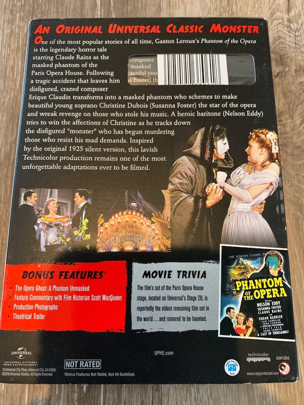 The Phantom of the Opera (DVD, 2014) Brand New Glow In Dark Slipcover