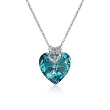 Camellia Blue Heart Pendant Sterling Silver Necklace Made With Swarovski... - $58.80