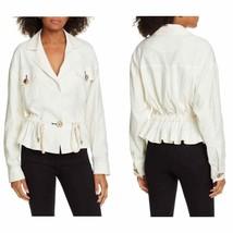 Veronica Beard Magni Linen Blend Button R\Front V Neck Drawstring Jacket... - $247.50