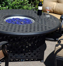 """Outdoor propane fire pit 5 piece set 52"""" round table 4 Elisabeth dining chairs image 4"""